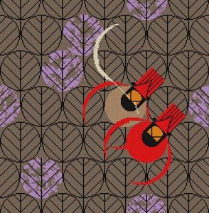 Charley Harper Needlepoint Redbirds & Rosebuds