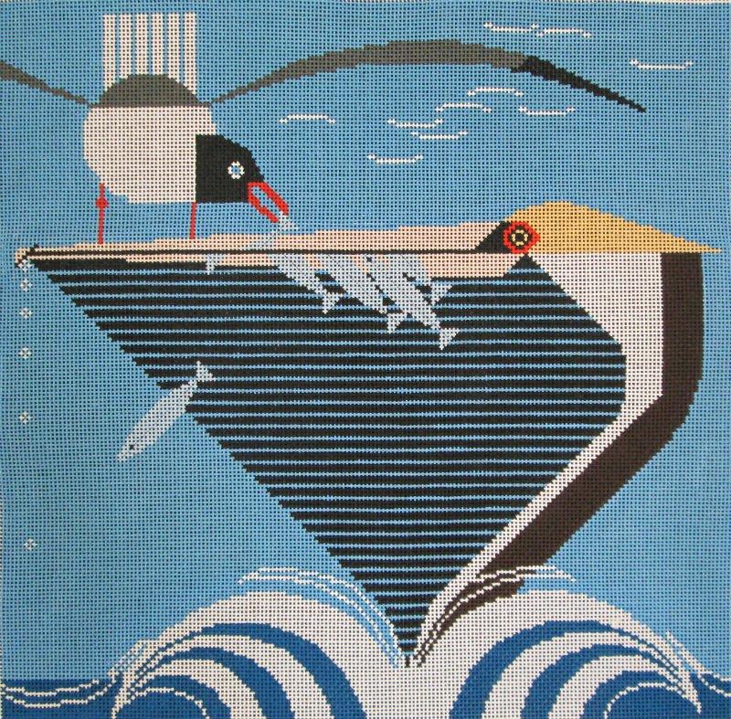Charley Harper Needlepoint Pelican Pantry