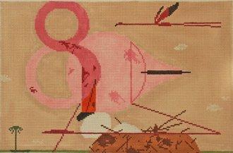 Charley Harper Needlepoint Flamingos