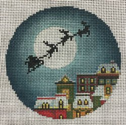 Christmas Eve Town Needlepoint Ornament