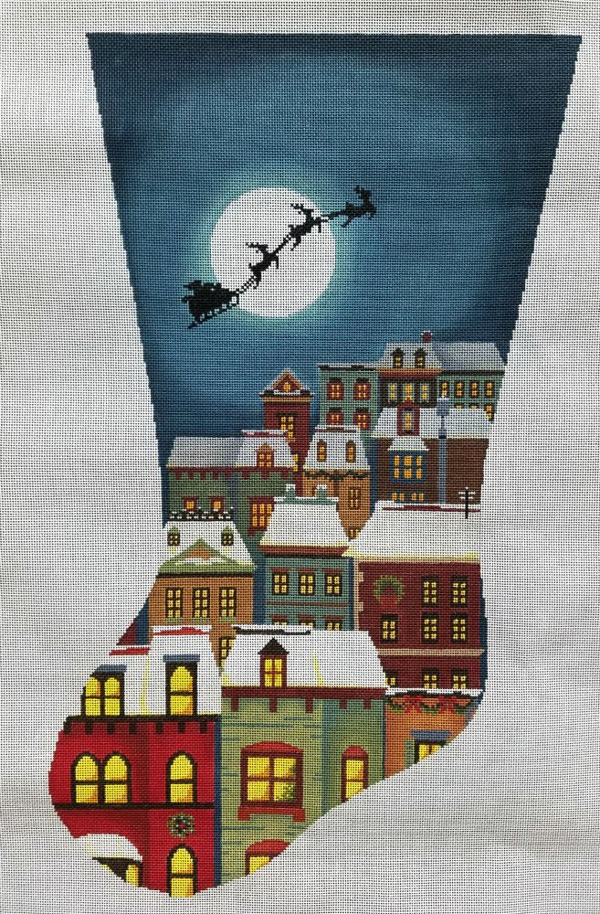 Needlepoint Christmas Eve Town Stocking