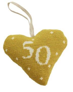 Celebration - 50 Needlepoint Heart Ornament