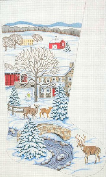 Country Scene Needlepoint Christmas Stocking
