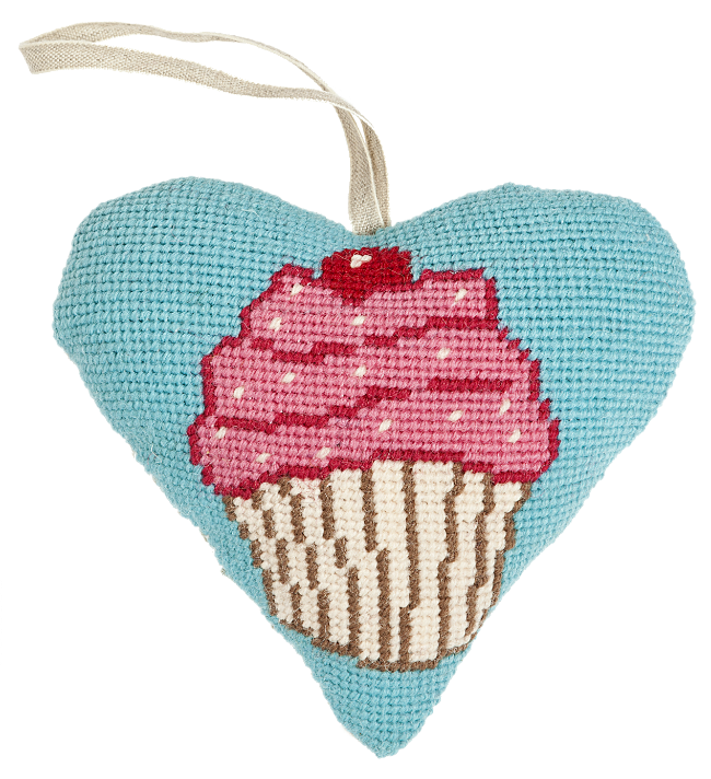 Needlepoint Heart Ornament Kit Cupcake