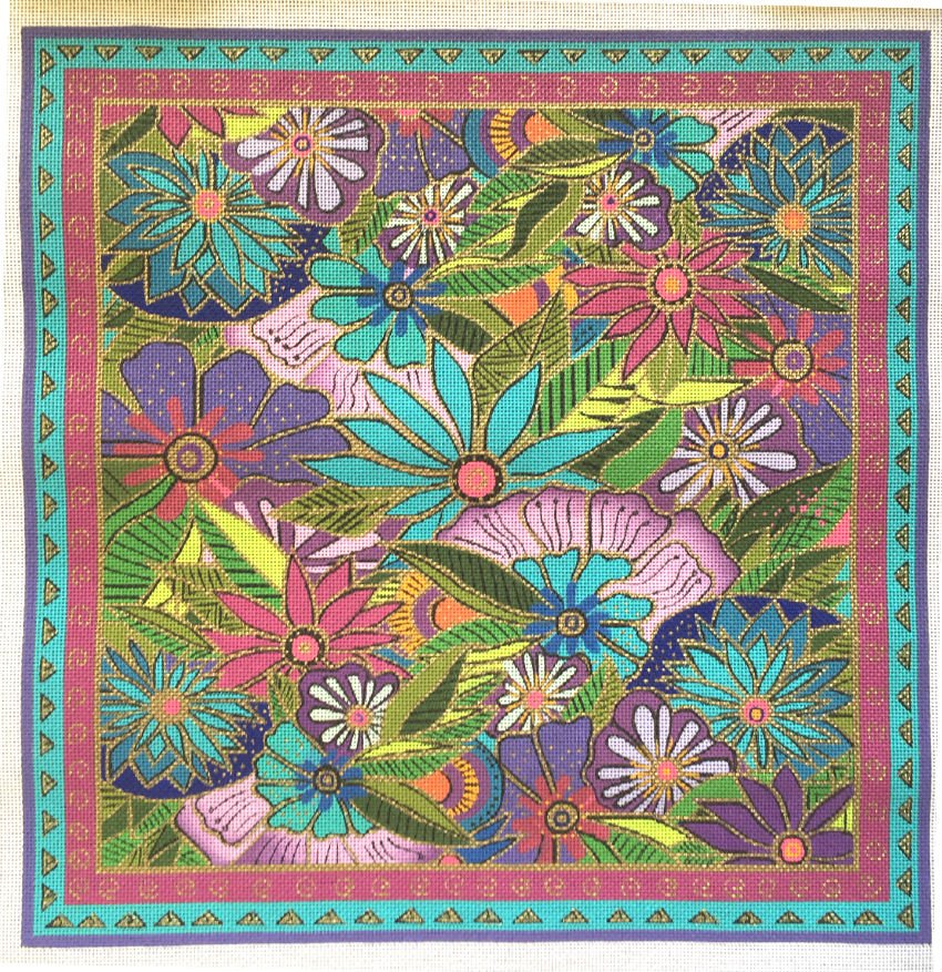 Lavender and Floral Needlepoint