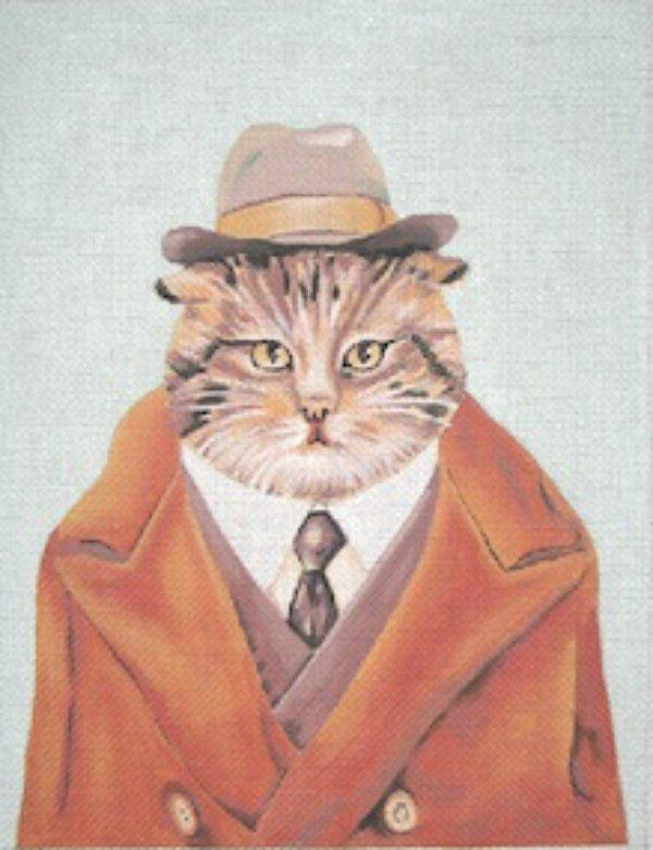 Detective Cat Handpainted Needlepoint