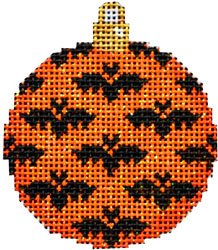 Bats on orange mini ball Halloween Needlepoint