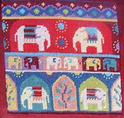 Indian Elephants small Needlepoint Kit
