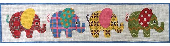 Patterned Elephants Needlepoint