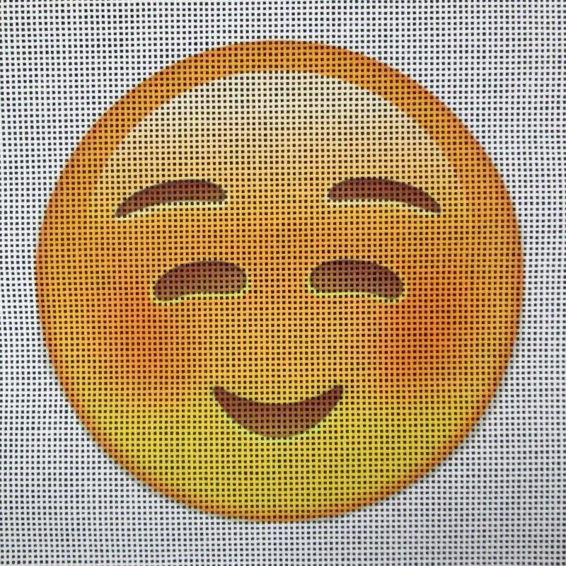 Emoji Needlepoint Nervous Smile