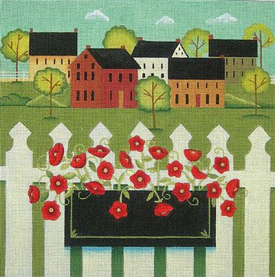 Ewe and I Needlepoint<BR>Town with Flower Box