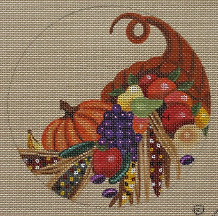 Thanksgiving Bounty needlepoint ornament
