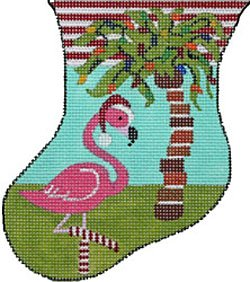 Flamingo with Palm Tree mini needlepoint stocking