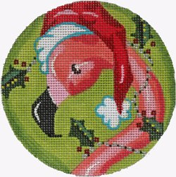 Flamingo in Santa Hat Christmas ornament