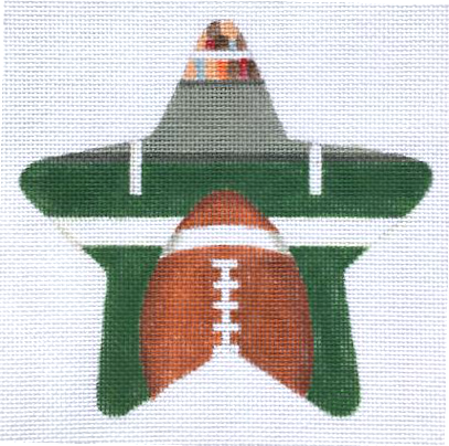 Football Needlepoint Star Ornament