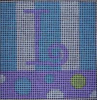 Beth Gantz Needlepoint Bubbles Alphabet in blue & purple
