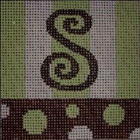 Beth Gantz Needlepoint Bubbles Alphabet in lime and black
