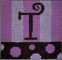 Beth Gantz Needlepoint Bubbles Alphabet in pink & black