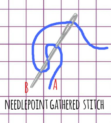 how to stitch curly hair in needlepoint with a gathered stitch