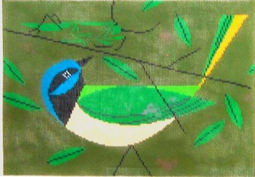 Charley Harper Needlepoint Green Jay