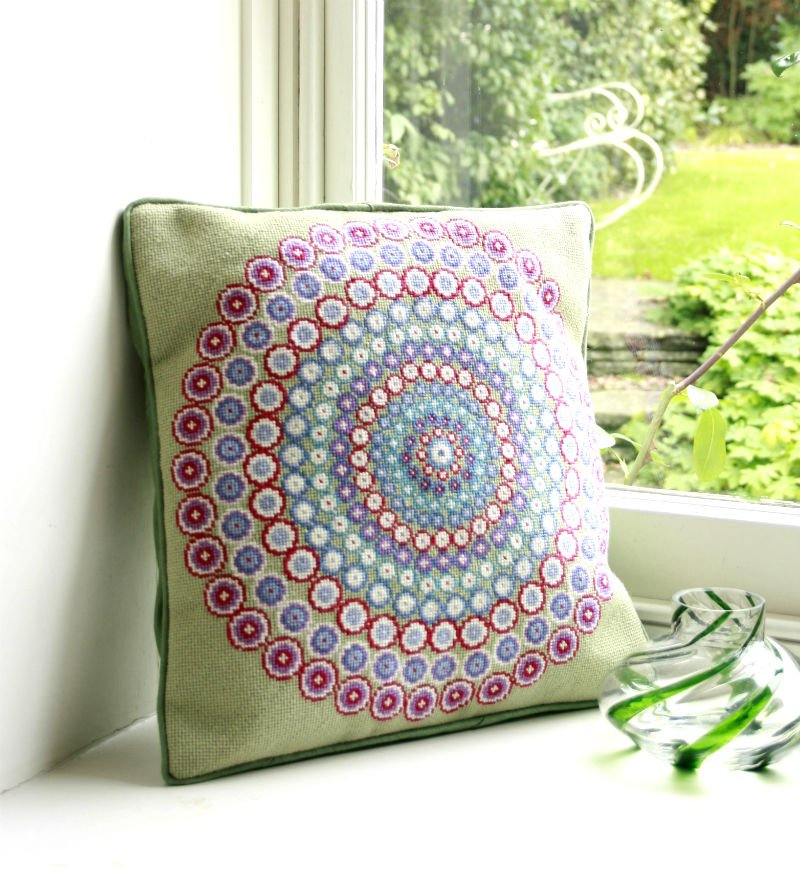 Millefiori Needlepoint Square Tapestry PIllow