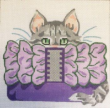 grey kitten in purple clutch by JulieMar