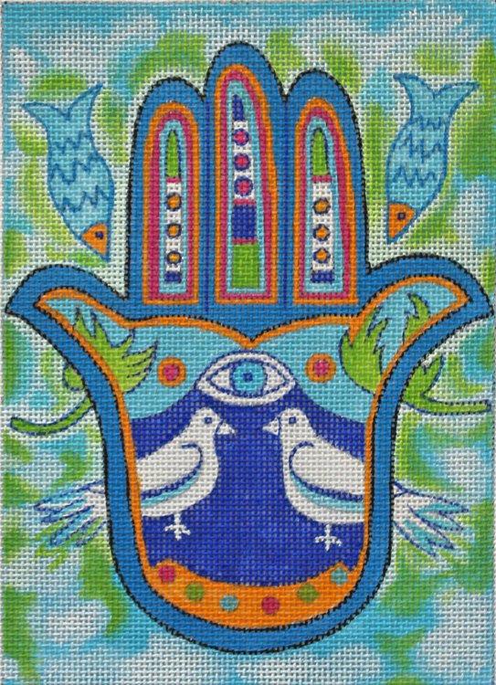 Hamsa Peace Doves Needlepoint