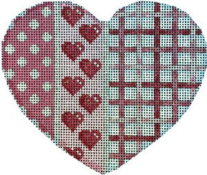 Heart Ornament - Dots & Woven