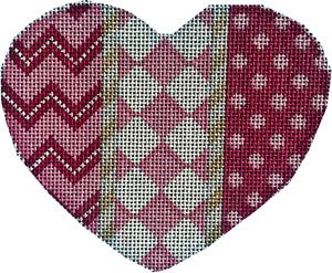 Heart Ornament -Chevron/Harlequin