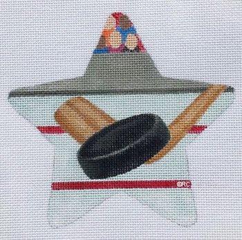 Hockey Needlepoint Star Ornament