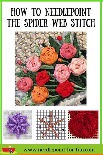 How to do the spider web needlepoint stitch