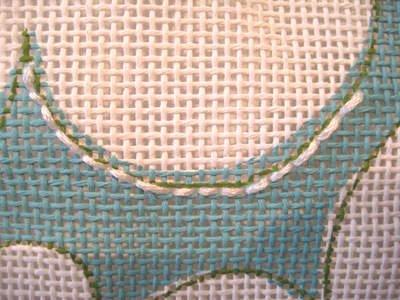how to use back stitch to stitch a needlepoint curve