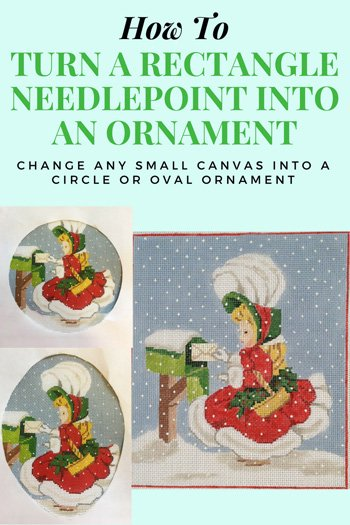 how to turn a rectangular needlepoint design into a round or oval ornament