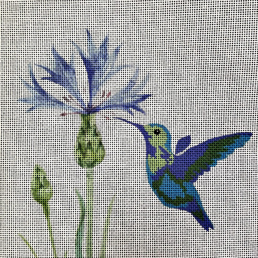Hummingbird and Flower Needlepoint