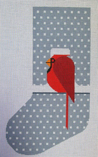 Charley Harper Needlepoint Stocking Cool Cardinal