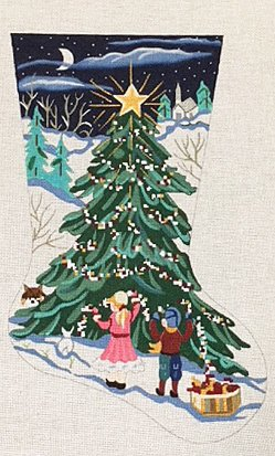 Decorating the Tree Christmas Stocking - in stock