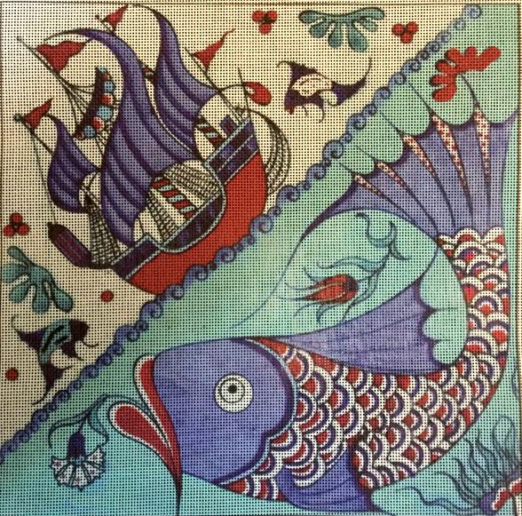 Iznik Fish and Sailboat