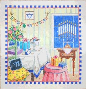 Judaic Needlepoint<BR>Happy Hanukkah