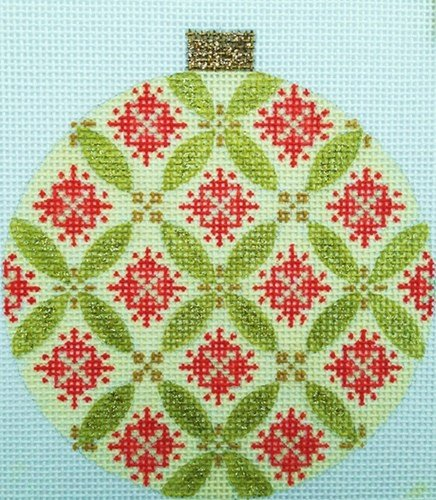 Florentine Green & Red Needlepoint Ornament