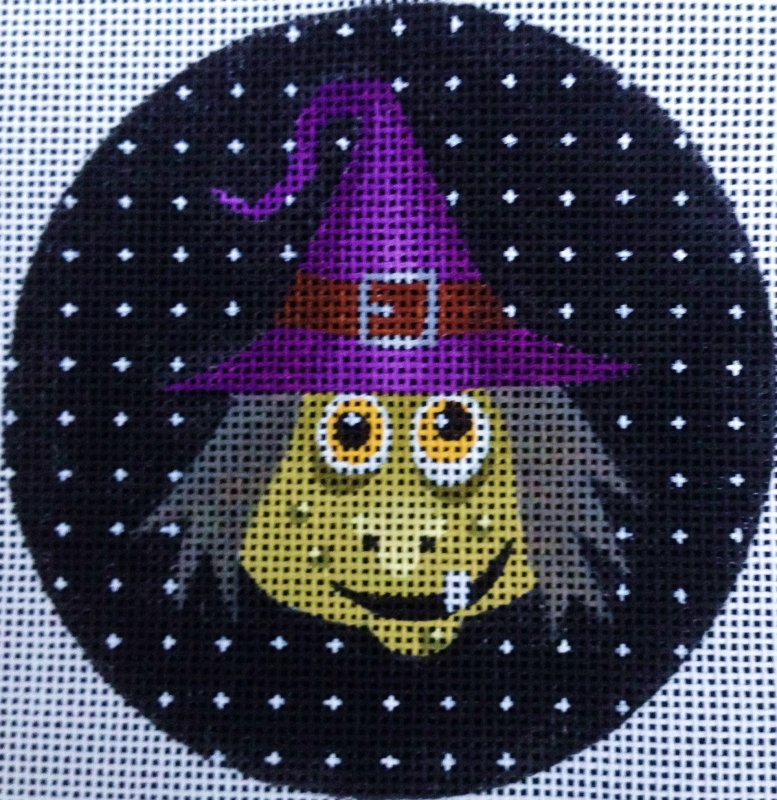 Halloween Needlepoint Ornament Agnes the Witch