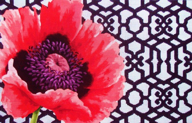 handpainted needlepoint with shading poppy trellis kirk and bradley