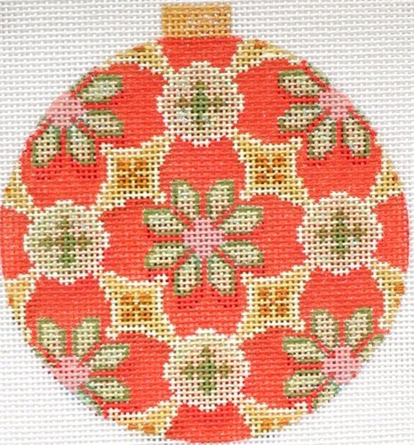 Florentine Sage/Red Needlepoint Ornament