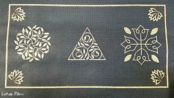 Lotus Needlepoint Pillow