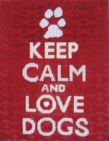 love dogs simple needlepoint canvas stitched