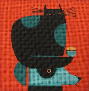 Black cat on head by Terry Runyan