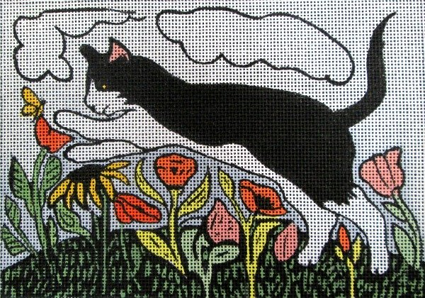 Maggie Needlepoint Pounce Cat