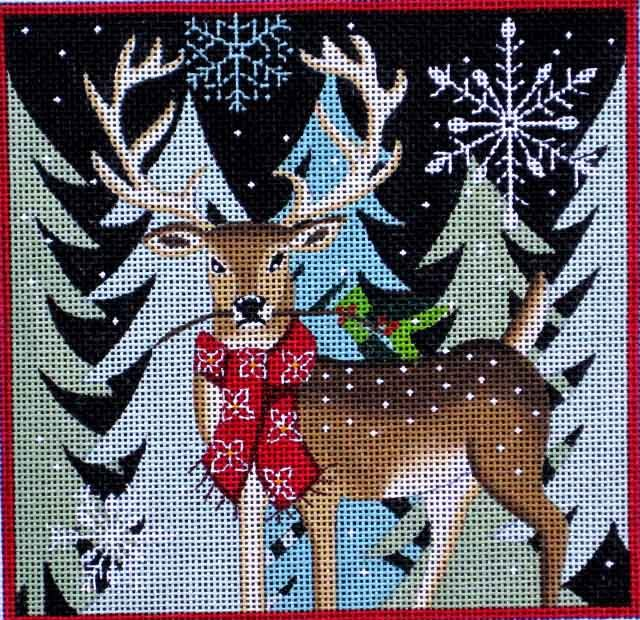 Maggie Needlepoint Deer and Berries