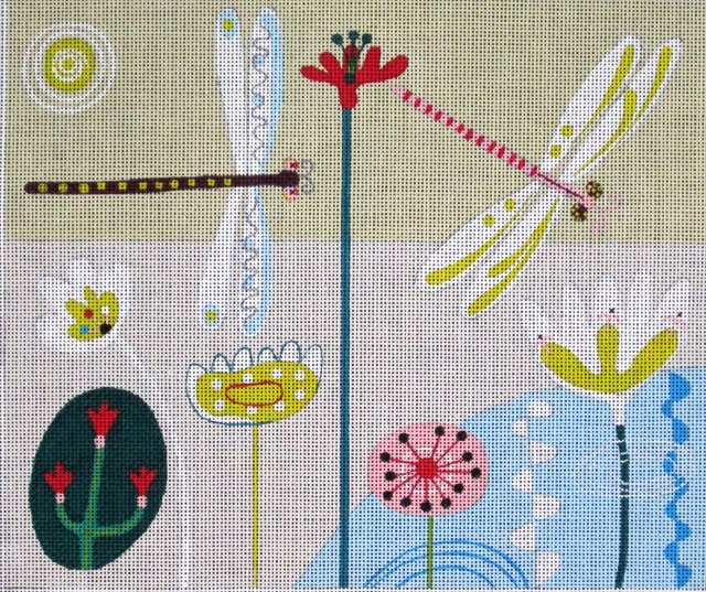 Maggie Needlepoint<BR>Dragonflies Landscape