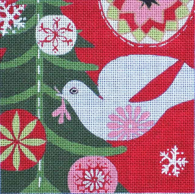 Maggie Needlepoint Mod Holiday Dove