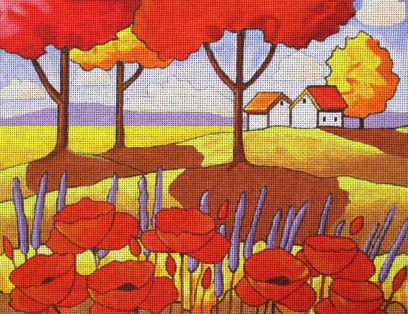 Maggie Needlepoint Poppies and Lavender